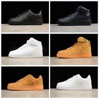 NIKE Air Force one 1 AF1 2021 الصيف forcs الأحذية السبابة الأسود القمح الأبيض ارتفاع الرجال النساء الرياضة أحذية رياضية سكيت حجم 36-45 D1