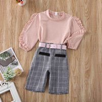 Kids Clothing Sets Girls Outfits Baby Clothes Children Dress Lace Sleeve Belt Plaid Pants Childrens Two-Piece Suit B7603