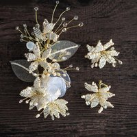 Hair Clips & Barrettes Bride Clip Earrings Sets Handmade Pearl Headdress 2021 Wedding Accessory Earring Bridal Jewelry