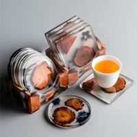 Posavasos de madera de resina creativa con titular de bebida resistente al calor té taza taza de café taza de vajilla a través de la decoración de la mesa KDJK2107