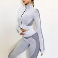 Zipper top tracksuit women's high waist tight hip lifting sports pants training running two piece set