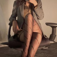 Net Red Paris Strümpfe Damenfamilie Dünnschwarze Buchstabe Strumpfhose Sexy Willkür Cut Kann nicht aus Seide Socksk3p2 abnehmen