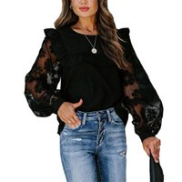 Fashion Women Ladies Mesh Patchwork Long Sleeve Blouse Black Lace Transparent Flower Bubble Pullover Tops Women's Blouses & Shirts
