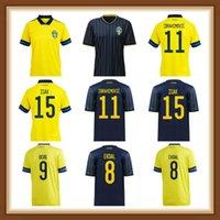 Sweden Soccer Jersey Home Away Ibrahimovic Kulusevski Berg Forsberg Larsson Tankovic Shirt de football Hommes Version 2021 Isak Claesson