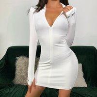 Mujeres Sólido Negro Blanco Bodycon Mini Vestido Mini Cuello alto Cuello Vestidos Sexy Vestidos Otoño Invierno Robas Casuales Vestidos