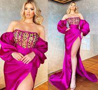 자홍색 플러스 사이즈 아랍어 아소 에비 섹시한 인어 댄스 파티 드레스 크리스탈 높은 분할 긴 소매 새틴 저녁 공식 파티 두 번째 리셉션 가운 사용자 정의 드레스