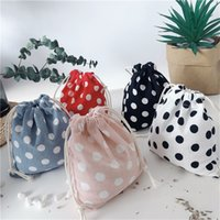 New Plaid Canvas Drawstring Bag Small Size Storage Bag Christmas Gift Candy Jewelry Organizer Cosmetic Coins Keys Bags Packing