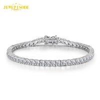 Solid 925 Sterling Silver 15-21cm Créée Moissanite Diamond Tennis Charm Bracelets pour Femmes Mariage Fine Bijoux Bouton