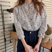 Vintage Florals Stand Office Lady Retro Chic Korean All Match Cute Shirts Women Brief Print Sweet Fashion Blouses Women's &