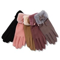 النساء الشتاء في الهواء الطلق لطيف قفازات السيدات الدافئة أفخم تمتد سماكة شاشة اللمس الشعر الفم الملابس خمسة أصابع