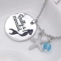 Ciondolo collane personalità gioielli di moda davvero una collana di pietra nascita stella di mare della sirena N271-1