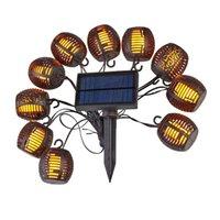 Dizeleri LED Güneş Enerjili Dize Işık Açık Su Geçirmez Alev Fener Asılı Peri Lambası Düğün Parti Tatil Süslemeleri