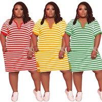 Casual Dresses Plus Size Women Clothing Summer Dress 4xl 5xl Fashion Striped V-neck Short Sleeve Elegant Wholesale Drop