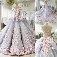 Luxury Quinceanera Prom Ball Gown Dresses 3D Floral Lace Applique Cap Sleeves Sweet 16 Floor Length Sheer Back Puffy Party Evenin