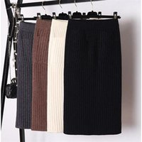 Skirts Elegant Midi Pencil High Waist Stretch Band Ribbed Knitted Skirt Women Split Pleated Spring Office Wear