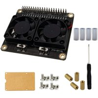 Dual Cooling Fans And Automatic Discoloration LED Heatsink Case GPIO Expansion Board For Raspberry Pi 4B & Coolings