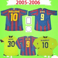 Barcelona jersey barca Retro 축구 유니폼 # 10 Ronaldinho 2005 2006 홈 어웨이 클래식 빈티지 축구 셔츠 # 30 MESSI Xavi Deco # 9 Eto'o Camiseta de futbol 05 06 with patch cup version League