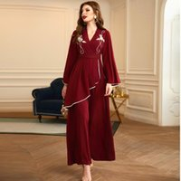 Casual Dresses Summer V-Neck Wide Long Sleeve Embroidery Appliqué Wine Red Women's Bandage Prom Maxi Bride Wedding Gown Femme Robe 2021