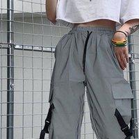 Donne Capris String Stringa Alta vita lato nastro cintura tascabile solido grigio cargo jogger riflettente pista pantalone streetwear harajuku allenamento coreano