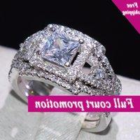 Vecalon Neue Versprechen Hochzeit Band Ring Für Frauen Luxus Schmuck 925 Sterling Silber Princess Cut 5A CZ 3 PC Party Entrynity Ringe
