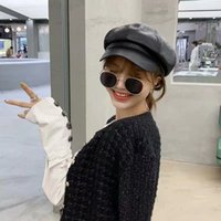 68%OFF PU leather octagonal hat for women autumn and 044N