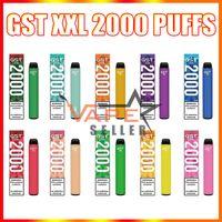 원래 GST XXL 일회용 vape 펜 전자 담배 1000mAh 배터리 6.5ml 프리 쿼리 포드 2000 퍼프 증기 키트 VS Bang Air Bar