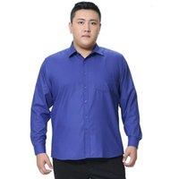 بالإضافة إلى حجم 5xl 6xl 7xl 8xl الأعمال الاجتماعية سهلة الرعاية اللباس الرجال قميص كبير كبير لينة مريحة نقية اللون عارضة قمصان رجالية