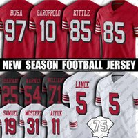 "85 George Kittle 97 Nick Bosa Jimmy Garoppolo Jersey Fred Warner Deebo Samuel Brandon Aiyuk Football Jerseys San Francisco ""49ers"" 5 Trey Lance Jerry Arroz Aiyuk"