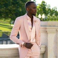 Blush Pink Men Suits Slim Fit Wedding Groom Tuxedos Shawl Lepal Groomsmen Suit Casual Bridegroom Set 2 Pieces Blazer