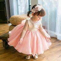 Girl's Dresses 2021 Est Baby Girl Dress Pink Tulle Birthday Party Flower Petal Tutu Princess Ball Gown 12M-6T Custom Made
