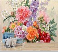 Wallpapers Papel De Parede European Oil Painting Flower 3d Wallpaper,living Room Tv Wall Bedroom Home Decor Restaurant Mural