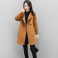 Women's Wool & Blends Winter Women Korean Lapel Overcoat Outwear Slim Elegant Plain Coats Full Sleeve Office Lady Coat Manteau Femme Hiver#g