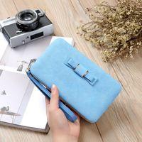 Wallets Fashion Bowknot PU Leather Clutch Bag Wallet Holder Card Coin Purse Wristlet Evening 100PCS lot
