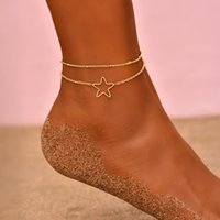 Bohemia Tiny Chain Anklet on The Leg for Women Girls Simple Gold Hollow Star Anklet Bracelets Set Femme Beach Jewelry Gifts