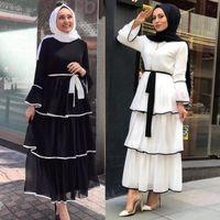 Casual Jurken Plus Size Abaya Turkije Avond Afrikaanse voor Dames Moslim Jurk Flare Mouw Femme Islam Robe Vestidos Tiered
