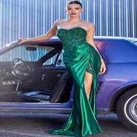 High Slit Green Gold Burgundy Evening Dress Sexy Sweetheart Mermaid Prom Dresses With Beaded Lace Plus Size Party Gowns Women Formal Vestidos Longos Robe De Soirée