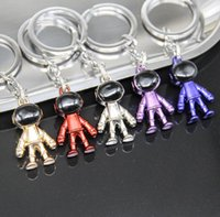 5 Colour Three Bimensional Astronaut Space Robot Metal Keychain Car Advertisement Waist Key Ring Chain Pendant Accessories