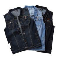 Mens Denim Vest Men Sleeveless Jean Jacket Vests Turn-down Collar Waistcoat For Men Big and Tall Plus Size M-7XL