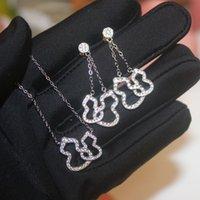 Kirin doble collar 925 plata esterlina plateada 18k oro rosa con incrustaciones con diamante hueco garabato pendientes cadena de clavícula