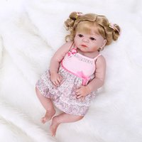 23 inch Full Soft Silicone Vinyl Reborn Baby Girl Dolls Collection With Pink Dress Relistic Gift For Child
