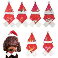 Dog Apparel Christmas Winter Pet Hat Cat Red Scarf Puppy Warm Caps Costume Clothes Set Xmas Year Supplies
