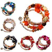 Bohemian Beads Crystal Charm Pulsera Tíbet MULTI-Capa Imitación Pinturas de viento Natural Pulseras étnicas