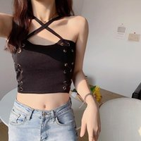 Women's Tanks & Camis Heliar Women Summer Tops Cross Straps Sexy Halter Fashion Y2K Knitted Crop For