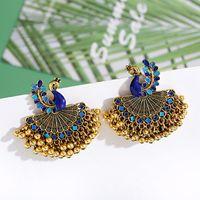 Dangle & Chandelier Gypsy Beads Tassel Pendientes Jhumka Earrings For Women Bohemian Retro Gold Colorful Peacock Fan Shape Jewelry