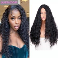 Synthetic Wigs Long Water Wave Hair Wig 24 Inch Natural Black Loose For Afro Women Heat Resistant Fiber Lolita Cosplay
