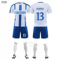 Adult Soccer Jersey Short Sleeve Set Child summer Men Football Uniform for kids Training Tracksuits Football Suit A0521