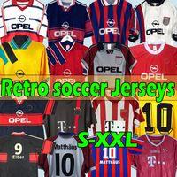 Matthäus # 10 1994 95 96 97 98 1999 2000 Bayern Retro Soccer Jerseys München 2001 2002 Final Elber Zickle Effenberg Pizarro Scholl 1995 1997 Klinsmann Fotbollskjortor