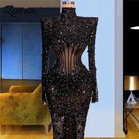 2021 Newest Dubai Design Heavy Beaded Formal Evening Dresses Black Kaftan Abaya Saudi Arabia Party Gowns Middle East Women Dress
