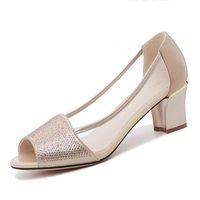 حذاء اللباس امرأة moolecole أزياء المرأة زقزقة تو مربع الكعب واحد الهواء شبكة 5.5 سم مضخات 2-138