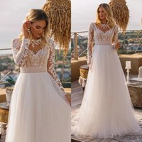 Vintage Long Sleeve Boho Wedding Gowns 2021 vestido novia Lace High Neck Plus Size A Line Beach Bridal Dresses robe de mariee